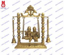 Lord Radha Krishna Swing W/Bell Statues