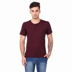 Plain Round Neck Men's Henley Half Sleeve T-Shirt