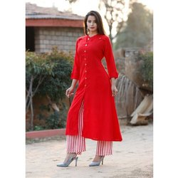 Casual Wear Plain Ladies Red Rayon Long Kurti, 3/4 Sleeve, Size: S - Xxl