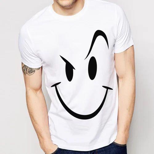 white printed t shirt for men