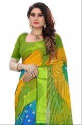 Bandhani Printed Papadiya Checks Saree