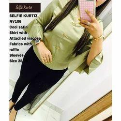 NV 106 Satin Shirt with Ruffle Sleeve