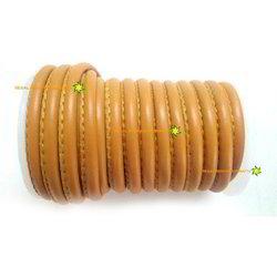 Orange Round Stitched Nappa Genuine Leather Cord