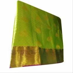 Party Wear Kanchipuram Silk Saree, 5.2 m (separate blouse piece), With Blouse Piece
