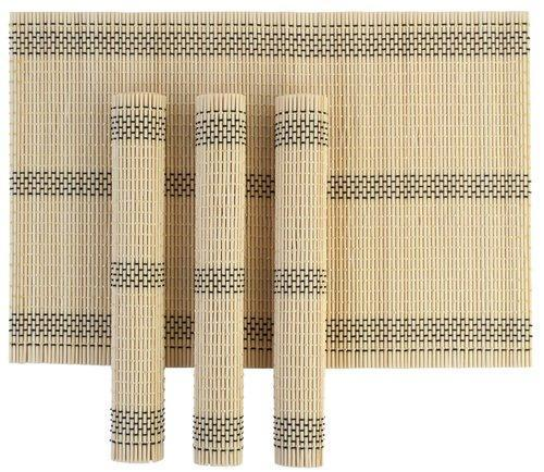 Bamboo Cream Stripe Wooden Dinner Table Kitchen Placemats Set, 4 Piece Set,  Size: