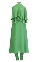 Light Green Foil Embroidered Suit