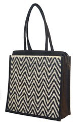 Jute Printed Zipper Bag