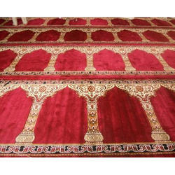 Multicolor Velvet Masjid Carpet, Size: 4x100