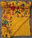Home Decor Bird Kantha Bedspread Cotton Blanket