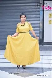 Urban Tribe Rayon Cotton Nine2Five Mustard Cold Shoulder Embroidered Floor Length Dress, Machine wash