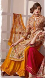 Kessi Present Rang House Cotton Designer Palazzo Fancy Salwar Kameez Suit