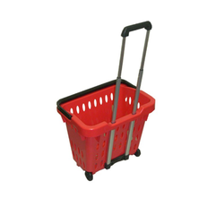 Wheel Plastic Shopping Trolley, Capacity: 42 Liters