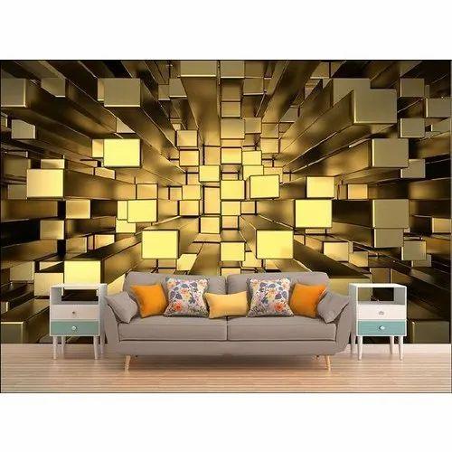 Rectangular Modern 3d Living Room, Wallpaper For Living Room Modern