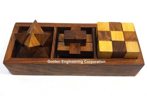 3-in-1 Wooden Puzzle Games Set with Wood Interlocking Blocks