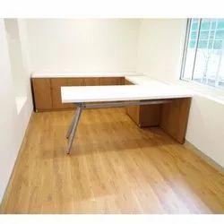 U Shape White Office Table