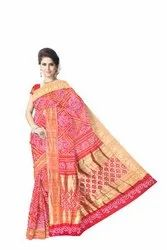 All Over Red Color Dupion Silk Bandhani Saree