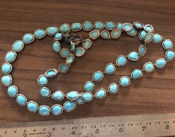 Natural Sleeping Beauty Turquoise And Real Pave Diamond Chain Necklace Jewelry