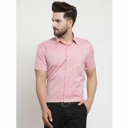 Poly Cotton Plain Men's Light Pink Half Sleeve Shirt, Machine wash, Size: 36-44 (XS - XXL)
