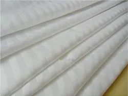 White Linen 300tc Satin 1cm Stripe Fabric