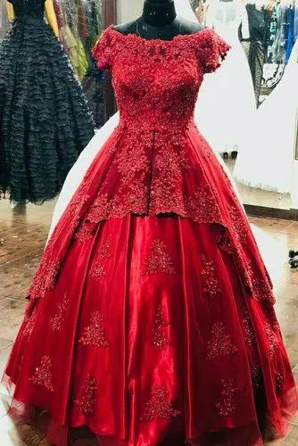 Maroon Bridal Gown Bridal Gown Gown For Wedding Marriage Gown À¤¶ À¤¦ À¤• À¤— À¤‰à¤¨ S B International Faridabad Id 20347412433