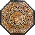 White Octagonal Marble Inlay Mother Of Pearl Stone Design Table Top