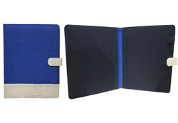 Button Blue Jute Folder