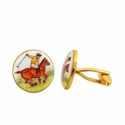 Hand Painted Polo Cufflinks In Enamel And Sterling Silver