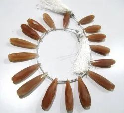 Natural Peach Moonstone Tear Drop Shape , 20 To 30mm Briolette Beads,Strand 8 Inches Long