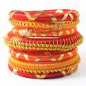 Indian Handcraft Golden Orange Beautiful Silk Thread Bangles