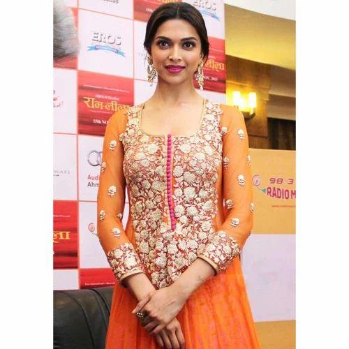 77978ff14d Net Orange Anarkali Suit at Rs 2699 /piece   डिज़ाइनर ...