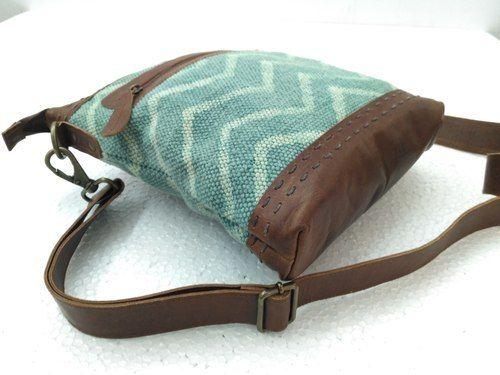 a221780abdda Green Handicraft Villa Designer Canvas Leather Messenger Bag
