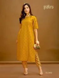 Cotton Straight Party Wear Ladies Designer Kurti