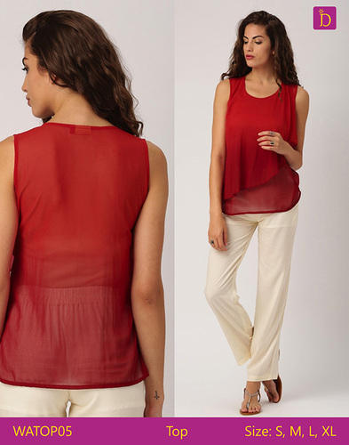 322a56ebb1f73 Maroon Poly Crepe Ladies Blouses   Tops Sleeveless Layered Top With Round  Neckline Casual Woman Tops