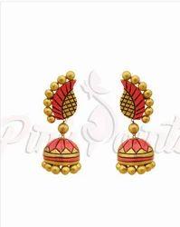 Flower Textured Terracotta Jhumki Earrings