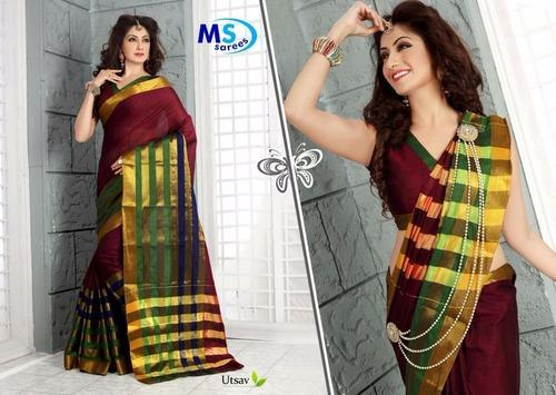 Pure Cotton Silk Party Wear Handloom Saree