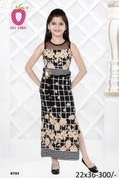 Formal Wear Girl Elegant Black Checks Floral Print Long Dress, Size: 22-36