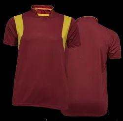 Mehroon Stand Collar Men Honey Comb T Shirt, Size: M-XXL