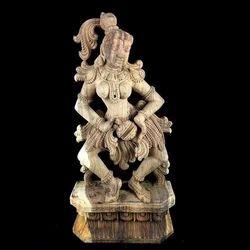 tab Brown Apsara Playing Taala Wooden Statue