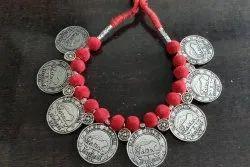 Silver Oxidized Reversible Necklace Coin Set