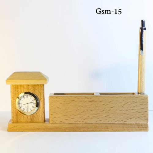 Golden Wooden Desktop Pen Holder