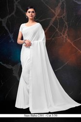 Formal Wear Plain White Border Chiffon Saree with Blouse Piece