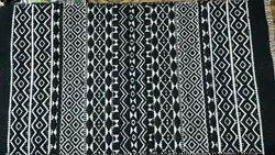 Cotton Black and White Handloom Jacquard Rug/Dhurrie, Size: 50 X 80 Cm