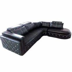 Black Leather Indoor Corner Sofa Set, Living Room