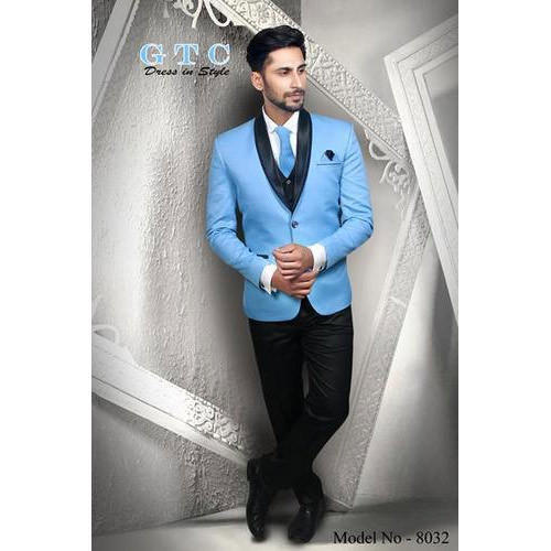 Designer Sky Blue Mens Suit