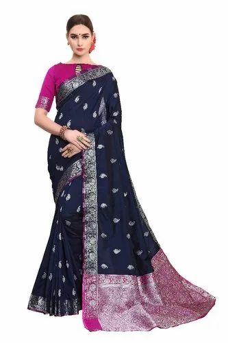 df9059d8fb Multicolor Kancheepuram Tussar Silk Sarees, Length: 6.3 m (With Blouse  Piece)