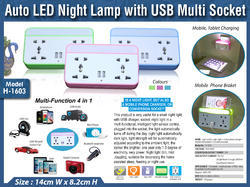 Warm White Electricity Auto LED Night Lamp With USB Multi Socket H-1603, For Home