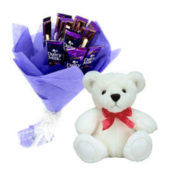 Dairy Milk Bouquet With Teddy (IGA00187)