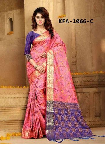 aed7d23ede Kaavifab Pink Latest Heavy Banarasi Silk Pink Patola Saree | ID ...