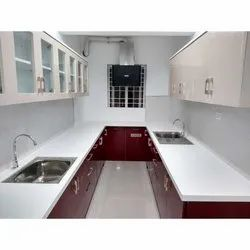 Red And White Modern U Shaped Modular Kitchen