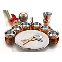 Pure Copper SS Luxury Dinner Thali Set